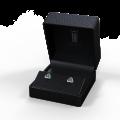 Zlaté dámské náušnice DF 3264, smaragd s diamanty , bílé zlato