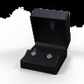 Zlaté dámské náušnice DF 3266, smaragd s diamanty , bílé zlato