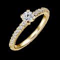 Zlatý zásnubní prsten DF 4570, žluté zlato, s diamantem