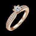 Florence Side Stones | Zásnubní prsten se středovým kamenem 0.25 ct, růžové zlato, s diamanty
