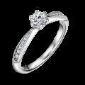 Minerva Side Stones | Zásnubní prsten se středovým kamenem 0.25 ct, bílé zlato, s diamanty