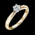 Zlatý zásnubní prsten DF 4630, žluté+bílé, s diamantem