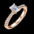 Arlene Side Stones   Zásnubní prsten se středovým kamenem 0.73 ct, růžové zlato, s diamanty