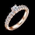 Dafné | Zásnubní prsten se středovým kamenem 0.25 ct, růžové zlato, s diamanty