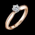 Zlatý zásnubní prsten DF 4670, bílé a růžové, s diamantem