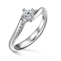 Zlatý zásnubní prsten DF 4682, bílé zlato, s diamantem