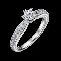 Florence Side Stones   Zásnubný prsteň so stredovým kameňom 0.25 ct, biele zlato, s diamantmi