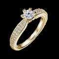 Florence Side Stones | Zásnubný prsteň so stredovým kameňom 0.25 ct, žlté zlato, s diamantmi
