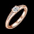 Harmonia | Zásnubní prsten se středovým kamenem 0.25ct, růžové zlato, s diamanty