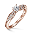 Luna | Zásnubní prsten se středovým kamenem 0.25 ct, růžové zlato, s diamanty
