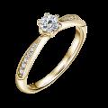 Minerva Side Stones | Zásnubní prsten se středovým kamenem 0.25 ct, žluté zlato, s diamanty
