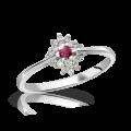 Zlatý zásnubní prsten DF 3055, bílé zlato, rubín s diamanty