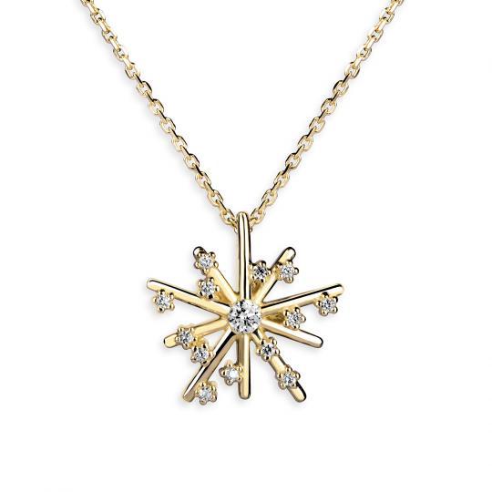 Dámský přívěsek Hvězda DF 4118 s řetízkem, žluté zlato, s brilianty