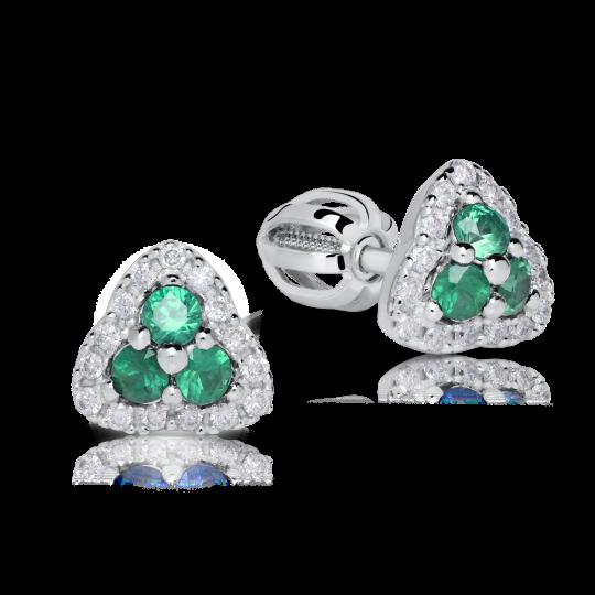 Smaragdové náušnice DF 3264, s diamantmi, biele zlato