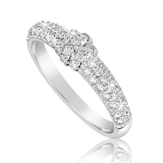 Zlatý dámsky prsteň DF 3190 z bieleho zlata, s briliantom