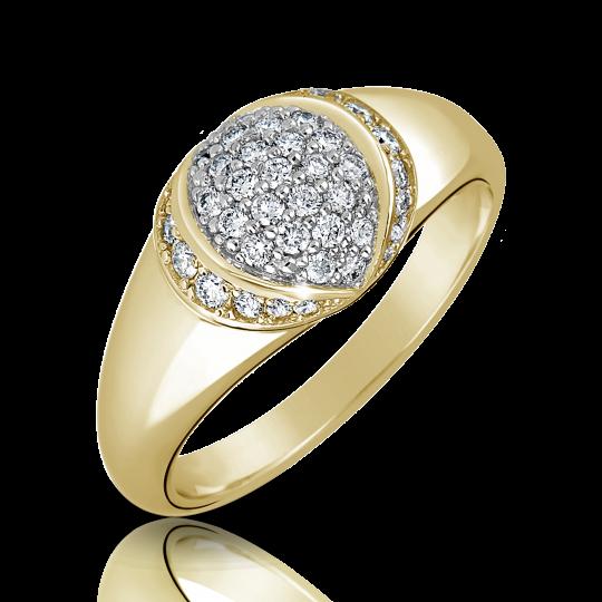 Zlatý dámsky prsteň DF 3193 zo žltého zlata, s briliantom