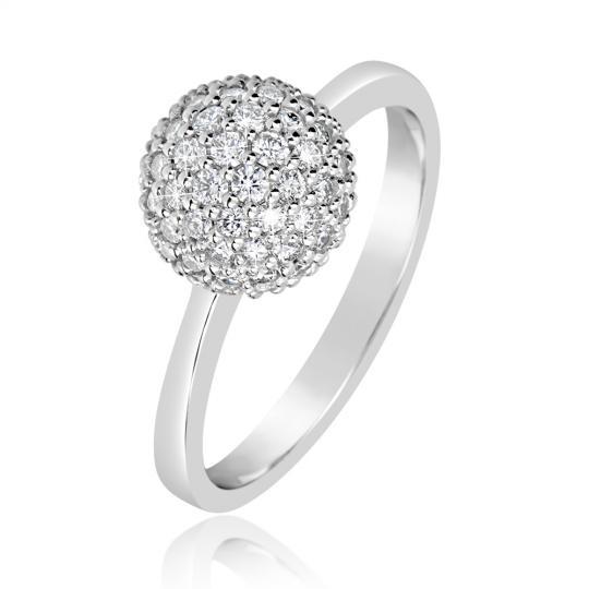 Zlatý dámsky prsteň DF 3355 z bieleho zlata, s briliantom