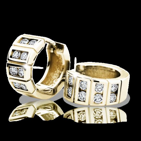 Zlaté dámské náušnice DF 2068, briliantové, žluté zlato