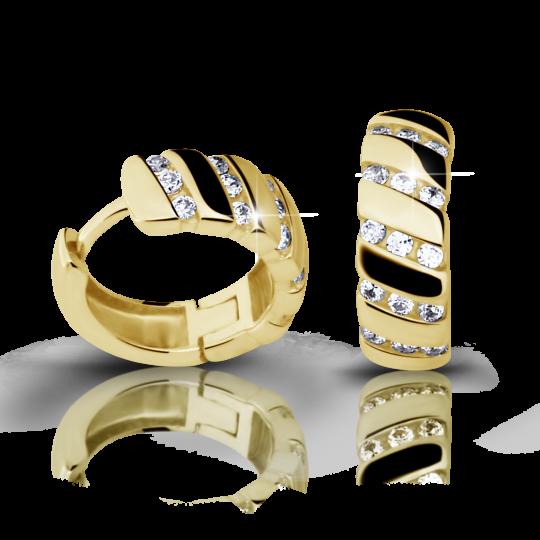 Zlaté dámske náušnice DF 2099, briliantové, žlté zlato