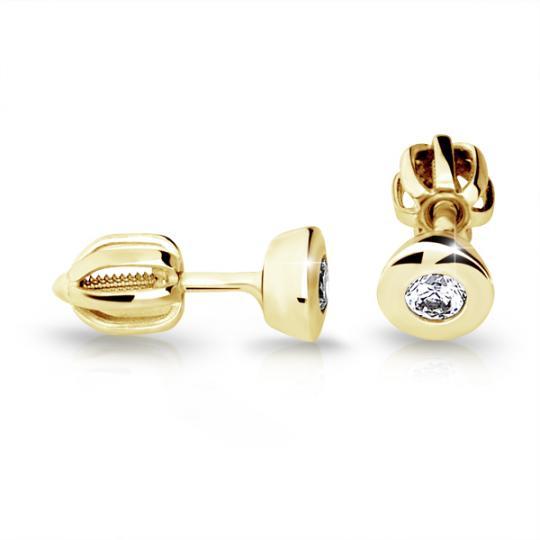 Zlaté dámske náušnice DF 2293, briliantové, žlté zlato