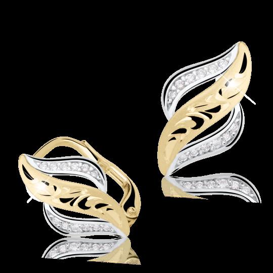 Zlaté dámské náušnice DF 2983, briliantové, žluté zlato