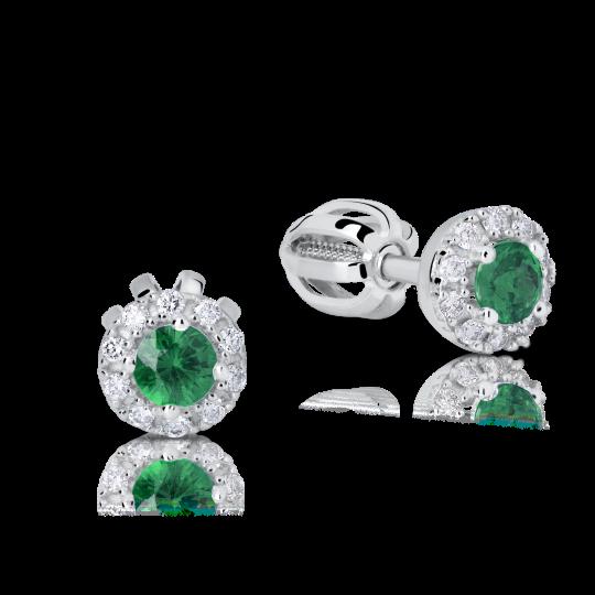 Zlaté dámské náušnice DF 3100, smaragd s diamanty , bílé zlato