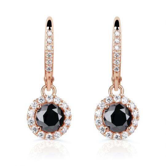 Zlaté dámské náušnice DF 3107, černé diamanty, růžové zlato