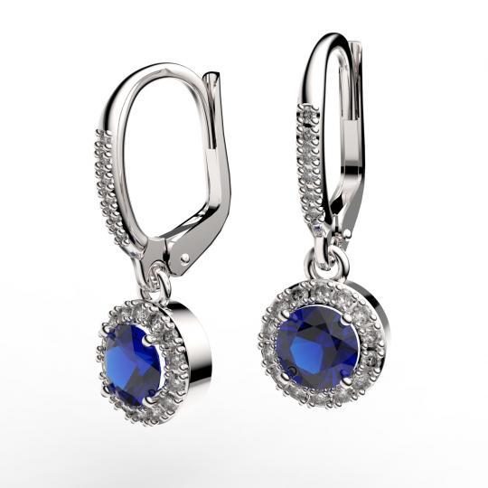 Zlaté dámske náušnice DF 3107, modrý zafír s diamantmi, biele zlato