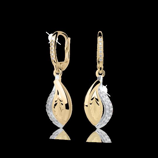 Zlaté dámské náušnice DF 3117, briliantové, žluté zlato