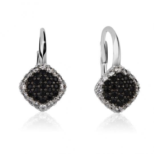 Zlaté dámske náušnice DF 3209, biele zlato, čierne a biele diamanty
