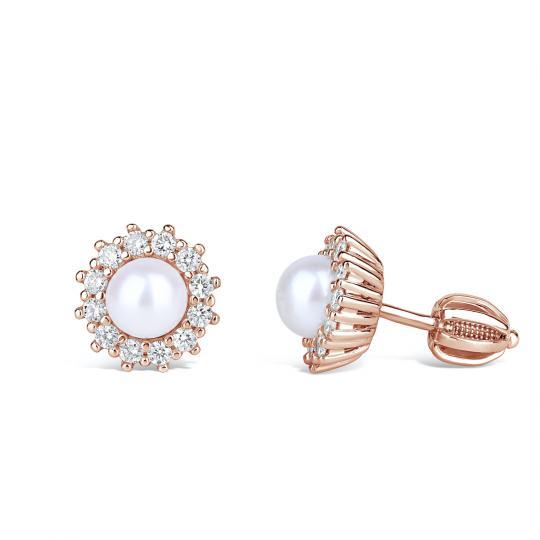 Zlaté dámské náušnice DF 4302, sladkovodní perla, růžové zlato