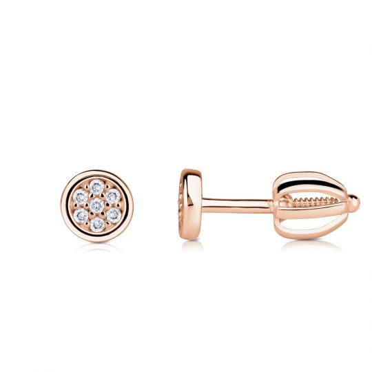 Zlaté dámské náušnice DF 4333, briliantové, růžové zlato