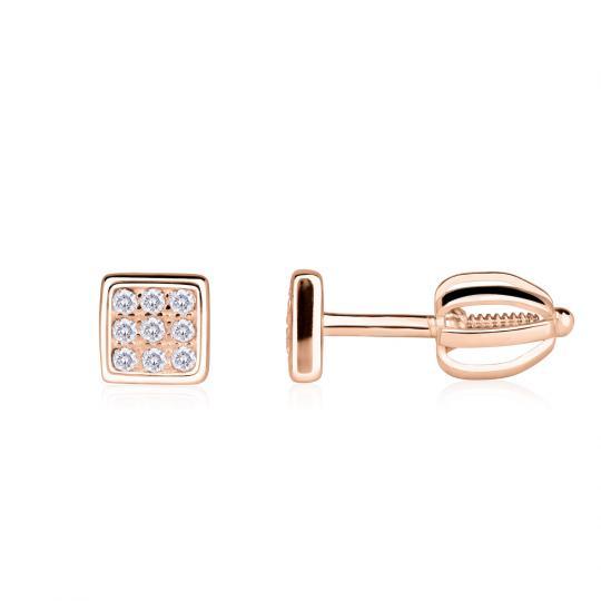 Zlaté dámské náušnice DF 4337, briliantové, růžové zlato
