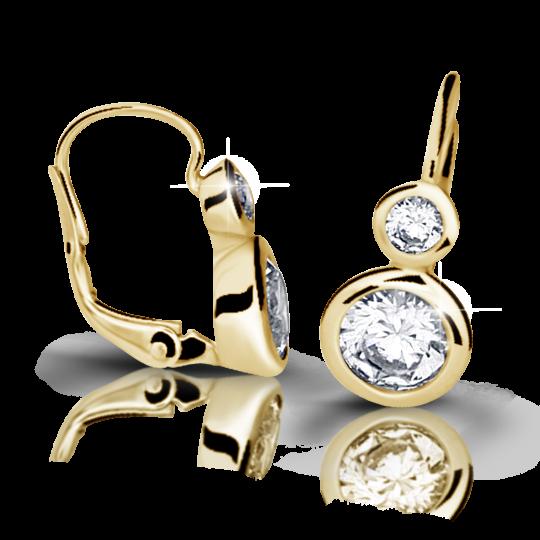 Zlaté náušnice DF 2128, diamantové, žluté zlato
