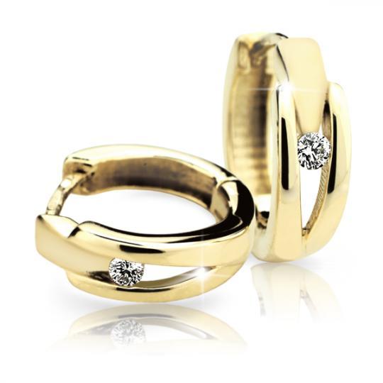Zlaté náušnice kruhy DF 2023, briliantové, žluté zlato