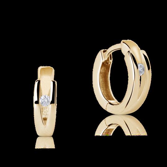 Zlaté náušnice kruhy DF 2023, briliantové , žluté zlato