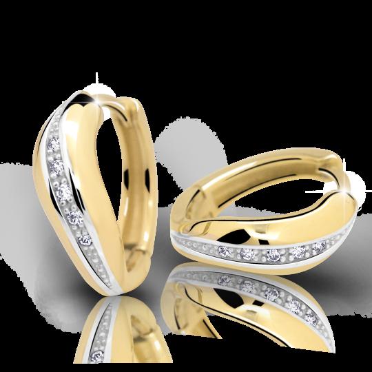 Zlaté náušnice kruhy DF 2132, briliantové, žluté zlato