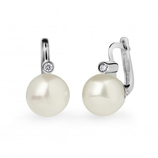 Zlaté perlové náušnice DF 2644, sladkovodní, bílé zlato