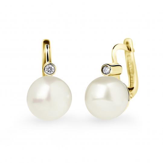 Zlaté perlové náušnice DF 2644, sladkovodní, žluté zlato