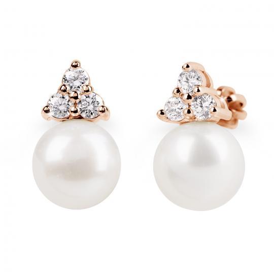 Zlaté perlové náušnice DF 2665, sladkovodní, růžové zlato