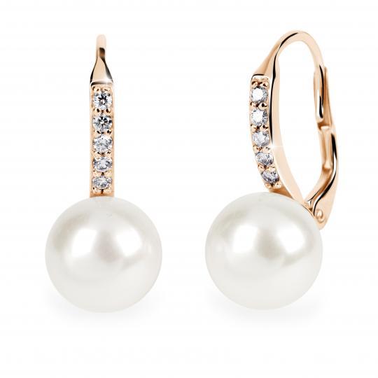 Zlaté perlové náušnice DF 3122, prírodné perly, ružové zlato