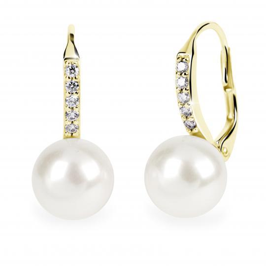 Zlaté perlové náušnice DF 3122, prírodné riečne perly, žlté zlato