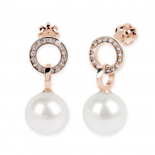 Zlaté perlové náušnice DF 3123, sladkovodní perly, růžové zlato