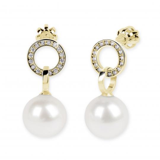 Zlaté perlové náušnice DF 3123, sladkovodní perly, žluté zlato