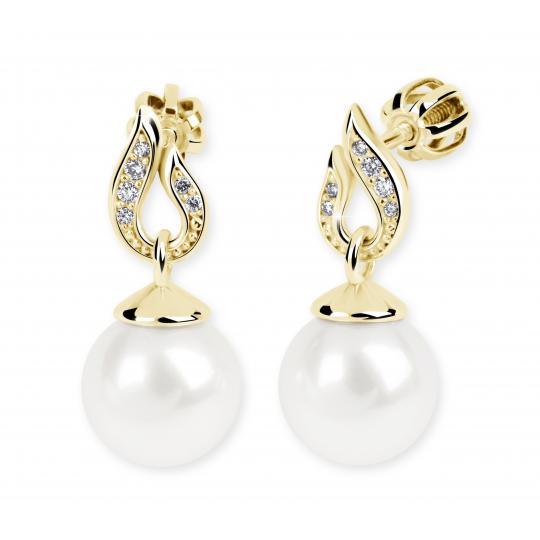 Zlaté perlové náušnice DF 3125, prírodné perly, žlté zlato