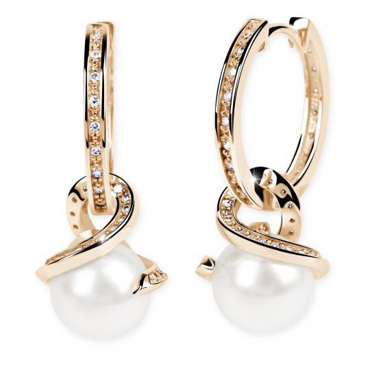 Zlaté perlové náušnice DF 3126, sladkovodní perly, růžové zlato