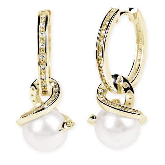 Zlaté perlové náušnice DF 3126, sladkovodní perly, žluté zlato