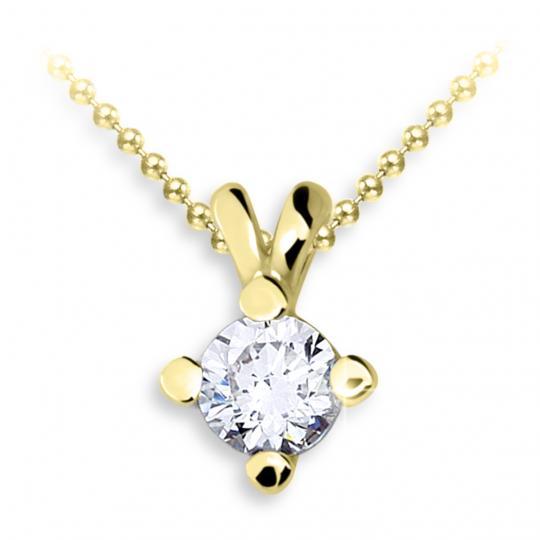 Zlatý dámský přívěsek DF 2110, žluté zlato, s briliantem