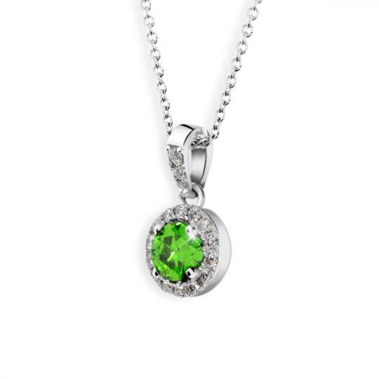 Zlatý dámský přívěsek DF 3099, bílé zlato, smaragd s diamanty