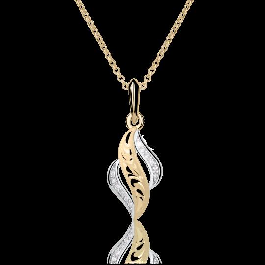 Zlatý dámský přívěsek DF 3131, žluté zlato, s briliantem